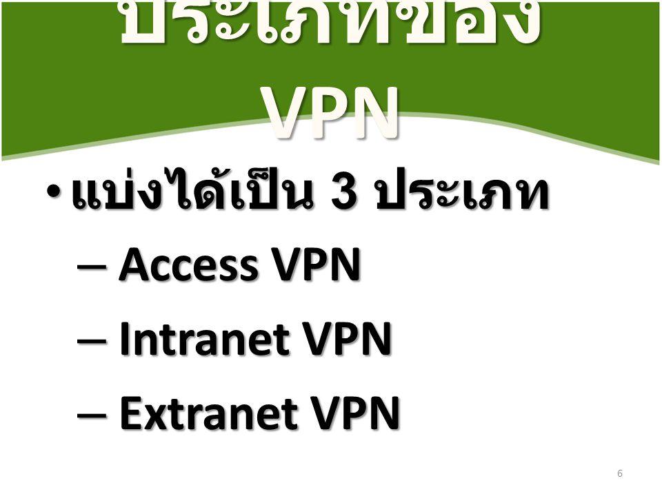 ประเภทของ VPN แบ่งได้เป็น 3 ประเภท แบ่งได้เป็น 3 ประเภท – Access VPN – Intranet VPN – Extranet VPN 6