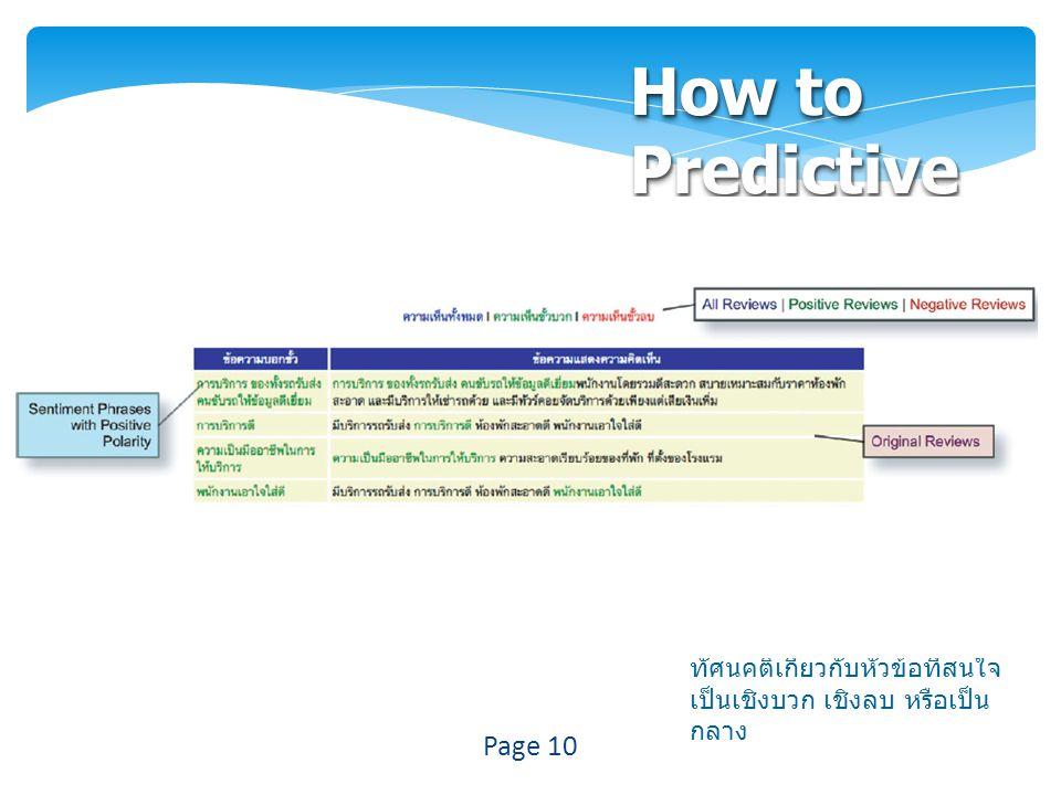How to Predictive  ตัดคำให้กับแต่ละประโยค  หาประโยคข้อคิดเห็นโดยนำ ประโยคที่ทำการตัดคำ แล้วมา ตรวจสอบว่ามีคำแสดงอารมณ์ (Sentiment word) หรือไม่  นำคำแสดงอารมณ์ในแต่ละ ประโยคข้อคิดเห็นมาตรวจสอบ ว่ามีทัศนคติเป็นอย่างไร  สรุปทัศนคติให้กับแต่ละ ประโยค ว่า มีประโยคที่แสดง ทัศนคติเกี่ยวกับหัวข้อที่สนใจ เป็นเชิงบวก เชิงลบ หรือเป็น กลาง Page 10