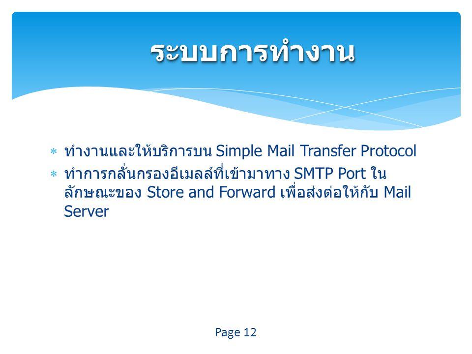 ระบบการทำงานระบบการทำงาน  ทำงานและให้บริการบน Simple Mail Transfer Protocol  ทำการกลั่นกรองอีเมลล์ที่เข้ามาทาง SMTP Port ใน ลักษณะของ Store and Forward เพื่อส่งต่อให้กับ Mail Server Page 12