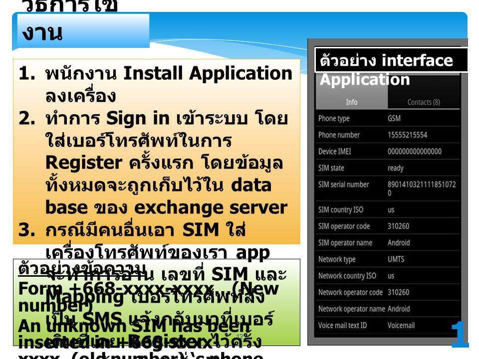 ตัวอย่างข้อความ Form +668-xxxx-xxxx…(New number) An unknown SIM has been inserted in +668-xxxx- xxxx..(old number) 's phone. วิธีการใช้ งาน ตัวอย่าง i