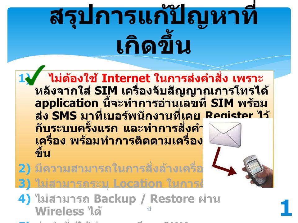 สรุปการแก้ปัญหาที่ เกิดขึ้น 1) ไม่ต้องใช้ Internet ในการส่งคำสั่ง เพราะ หลังจากใส่ SIM เครื่องจับสัญญาณการโทรได้ application นี้จะทำการอ่านเลขที่ SIM