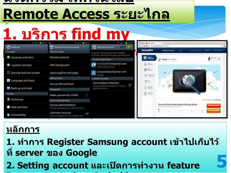 1. บริการ find my mobile ระบบ androids นวัตกรรม เทคโนโลยี Remote Access ระยะไกล หลักการ 1. ทำการ Register Samsung account เข้าไปเก็บไว้ ที่ server ของ
