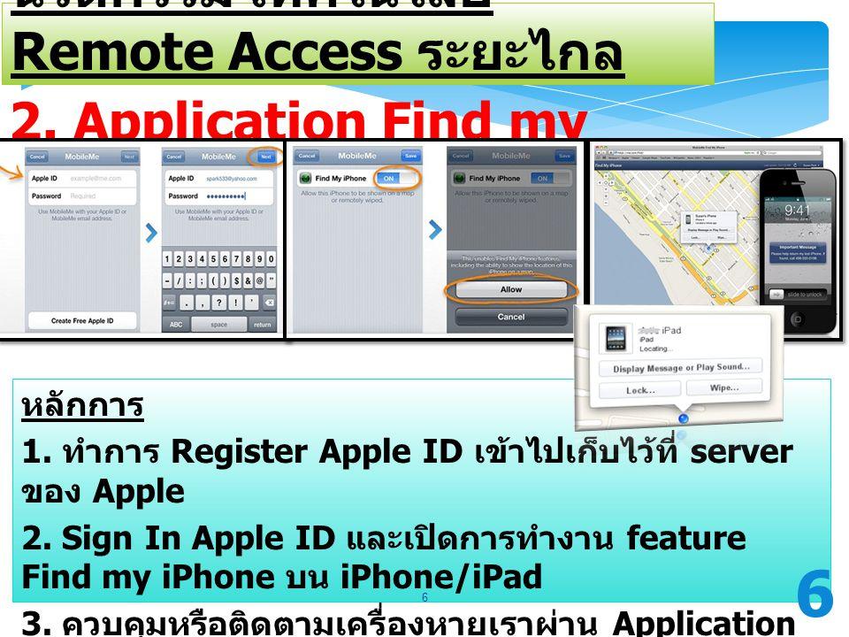 2. Application Find my iPhone ระบบ IOS นวัตกรรม เทคโนโลยี Remote Access ระยะไกล หลักการ 1. ทำการ Register Apple ID เข้าไปเก็บไว้ที่ server ของ Apple 2