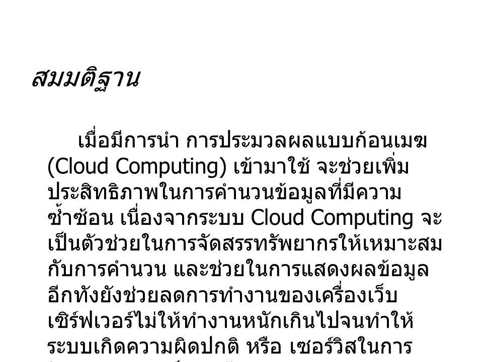 สมมติฐาน เมื่อมีการนำ การประมวลผลแบบก้อนเมฆ (Cloud Computing) เข้ามาใช้ จะช่วยเพิ่ม ประสิทธิภาพในการคำนวนข้อมูลที่มีความ ซ้ำซ้อน เนื่องจากระบบ Cloud Computing จะ เป็นตัวช่วยในการจัดสรรทรัพยากรให้เหมาะสม กับการคำนวน และช่วยในการแสดงผลข้อมูล อีกทังยังช่วยลดการทำงานของเครื่องเว็บ เซิร์ฟเวอร์ไม่ให้ทำงานหนักเกินไปจนทำให้ ระบบเกิดความผิดปกติ หรือ เซอร์วิสในการ ให้บริการของเว็บล่ม ได้
