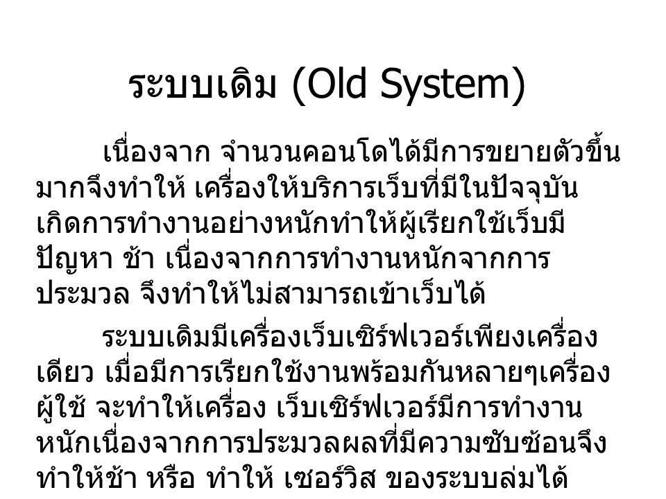 ระบบเดิม (Old System) เนื่องจาก จำนวนคอนโดได้มีการขยายตัวขึ้น มากจึงทำให้ เครื่องให้บริการเว็บที่มีในปัจจุบัน เกิดการทำงานอย่างหนักทำให้ผู้เรียกใช้เว็บมี ปัญหา ช้า เนื่องจากการทำงานหนักจากการ ประมวล จึงทำให้ไม่สามารถเข้าเว็บได้ ระบบเดิมมีเครื่องเว็บเซิร์ฟเวอร์เพียงเครื่อง เดียว เมื่อมีการเรียกใช้งานพร้อมกันหลายๆเครื่อง ผู้ใช้ จะทำให้เครื่อง เว็บเซิร์ฟเวอร์มีการทำงาน หนักเนื่องจากการประมวลผลที่มีความซับซ้อนจึง ทำให้ช้า หรือ ทำให้ เซอร์วิส ของระบบล่มได้
