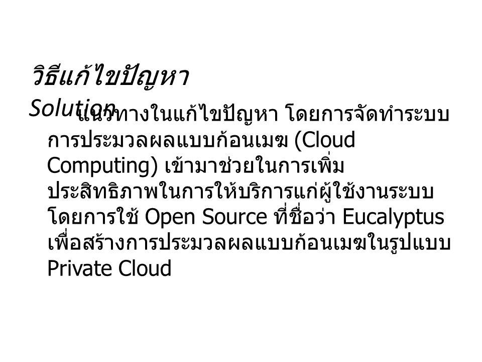 วิธีแก้ไขปัญหา Solution แนวทางในแก้ไขปัญหา โดยการจัดทำระบบ การประมวลผลแบบก้อนเมฆ (Cloud Computing) เข้ามาช่วยในการเพิ่ม ประสิทธิภาพในการให้บริการแก่ผู้ใช้งานระบบ โดยการใช้ Open Source ที่ชื่อว่า Eucalyptus เพื่อสร้างการประมวลผลแบบก้อนเมฆในรูปแบบ Private Cloud
