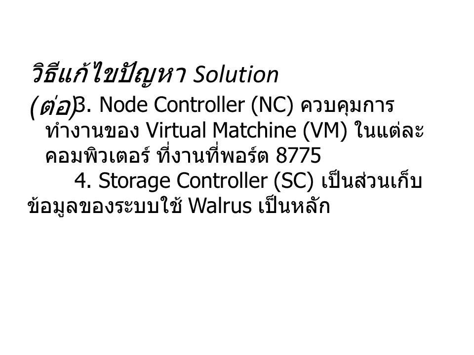 วิธีแก้ไขปัญหา Solution ( ต่อ ) 3. Node Controller (NC) ควบคุมการ ทำงานของ Virtual Matchine (VM) ในแต่ละ คอมพิวเตอร์ ที่งานที่พอร์ต 8775 4. Storage Co