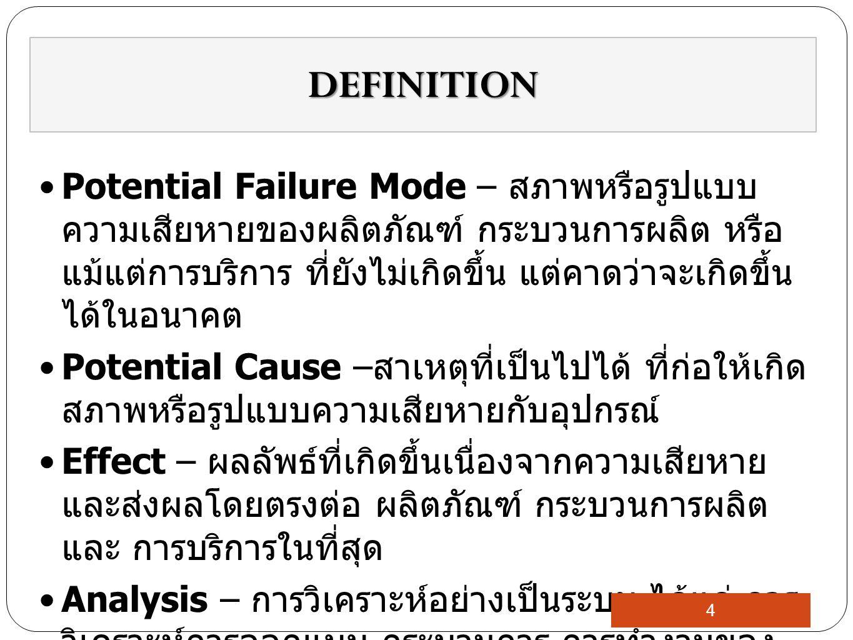Potential Failure Mode – สภาพหรือรูปแบบ ความเสียหายของผลิตภัณฑ์ กระบวนการผลิต หรือ แม้แต่การบริการ ที่ยังไม่เกิดขึ้น แต่คาดว่าจะเกิดขึ้น ได้ในอนาคต Potential Cause – สาเหตุที่เป็นไปได้ ที่ก่อให้เกิด สภาพหรือรูปแบบความเสียหายกับอุปกรณ์ Effect – ผลลัพธ์ที่เกิดขึ้นเนื่องจากความเสียหาย และส่งผลโดยตรงต่อ ผลิตภัณฑ์ กระบวนการผลิต และ การบริการในที่สุด Analysis – การวิเคราะห์อย่างเป็นระบบ ได้แก่ การ วิเคราะห์การออกแบบ กระบวนการ การทำงานของ ผลิตภัณฑ์ และรวมไปถึงการวิเคราะห์ข้อมูลที่ เกี่ยวข้องด้วย DEFINITION 4