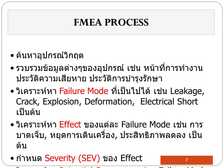 ค้นหาอุปกรณ์วิกฤต รวบรวมข้อมูลต่างๆของอุปกรณ์ เช่น หน้าที่การทำงาน ประวัติความเสียหาย ประวัติการบำรุงรักษา วิเคราะห์หา Failure Mode ที่เป็นไปได้ เช่น Leakage, Crack, Explosion, Deformation, Electrical Short เป็นต้น วิเคราะห์หา Effect ของแต่ละ Failure Mode เช่น การ บาดเจ็บ, หยุดการเดินเครื่อง, ประสิทธิภาพลดลง เป็น ต้น กำหนด Severity (SEV) ของ Effect วิเคราะห์หา Potential Cause ของแต่ละ Failure Mode FMEA PROCESS 7