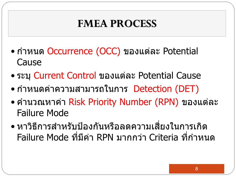 กำหนด Occurrence (OCC) ของแต่ละ Potential Cause ระบุ Current Control ของแต่ละ Potential Cause กำหนดค่าความสามารถในการ Detection (DET) คำนวณหาค่า Risk Priority Number (RPN) ของแต่ละ Failure Mode หาวิธีการสำหรับป้องกันหรือลดความเสี่ยงในการเกิด Failure Mode ที่มีค่า RPN มากกว่า Criteria ที่กำหนด FMEA PROCESS 8