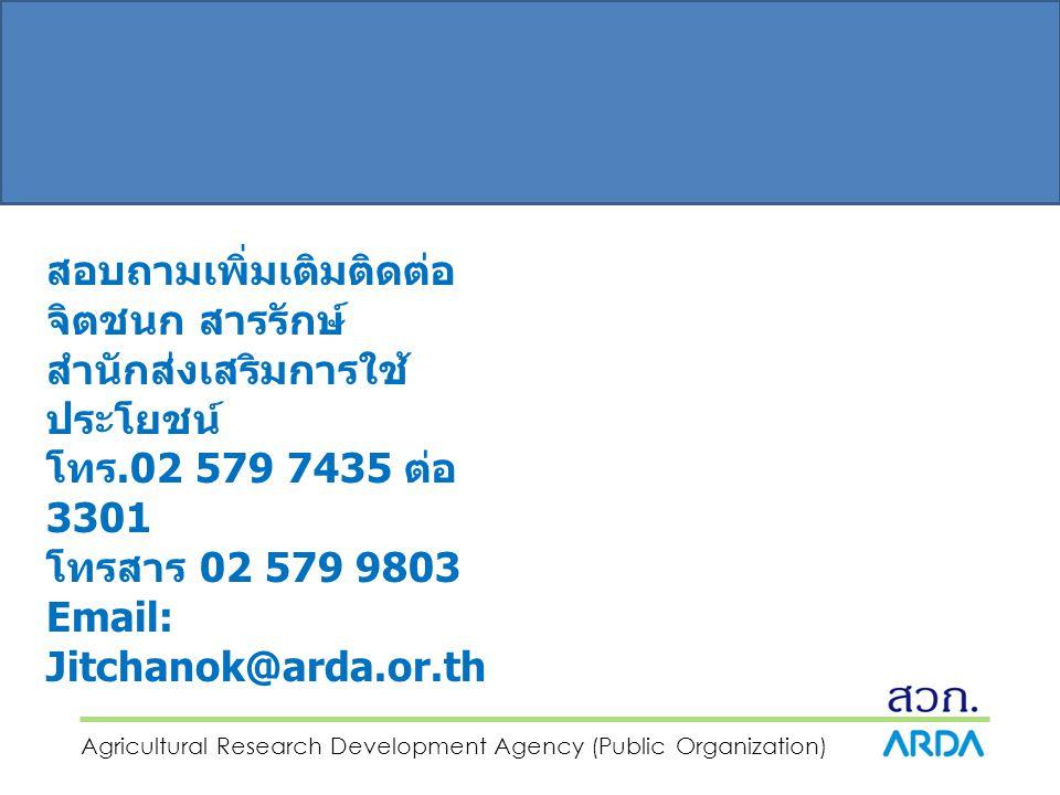 Agricultural Research Development Agency (Public Organization) สอบถามเพิ่มเติมติดต่อ จิตชนก สารรักษ์ สำนักส่งเสริมการใช้ ประโยชน์ โทร.02 579 7435 ต่อ