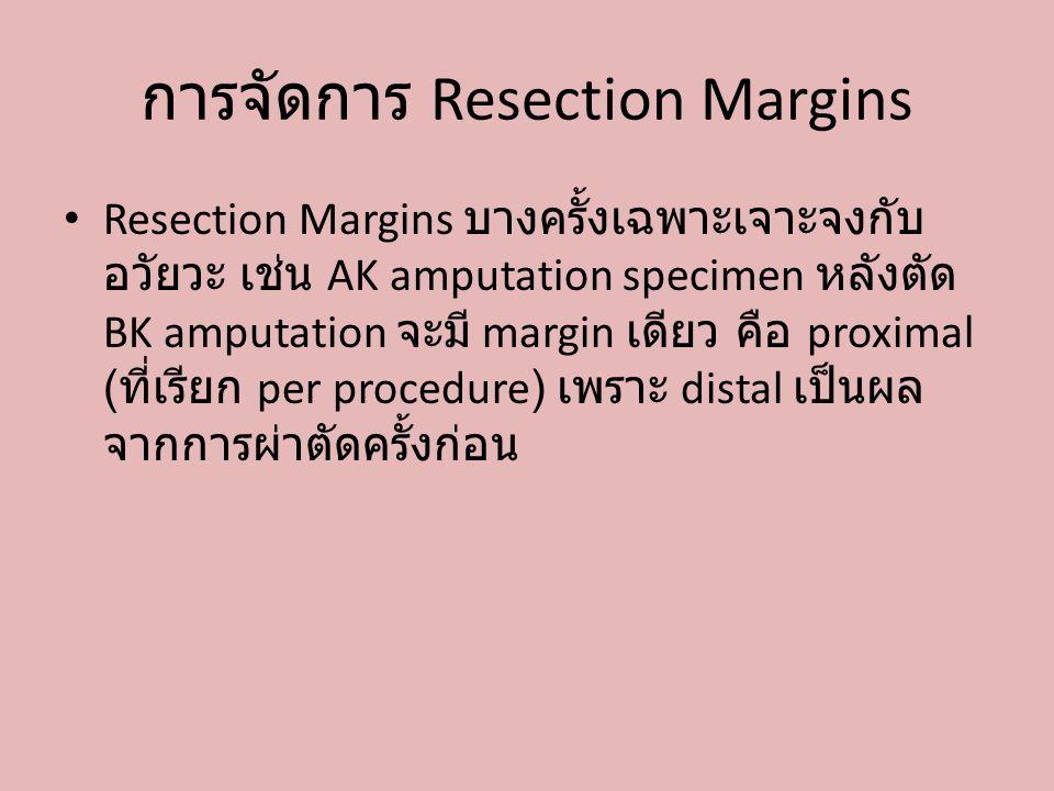 การจัดการ Resection Margins Resection Margins บางครั้งเฉพาะเจาะจงกับ อวัยวะ เช่น AK amputation specimen หลังตัด BK amputation จะมี margin เดียว คือ pr