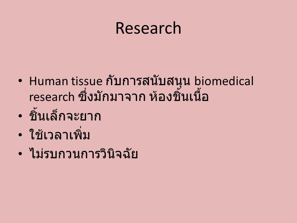 Research Human tissue กับการสนับสนุน biomedical research ซึ่งมักมาจาก ห้องชิ้นเนื้อ ชิ้นเล็กจะยาก ใช้เวลาเพิ่ม ไม่รบกวนการวินิจฉัย