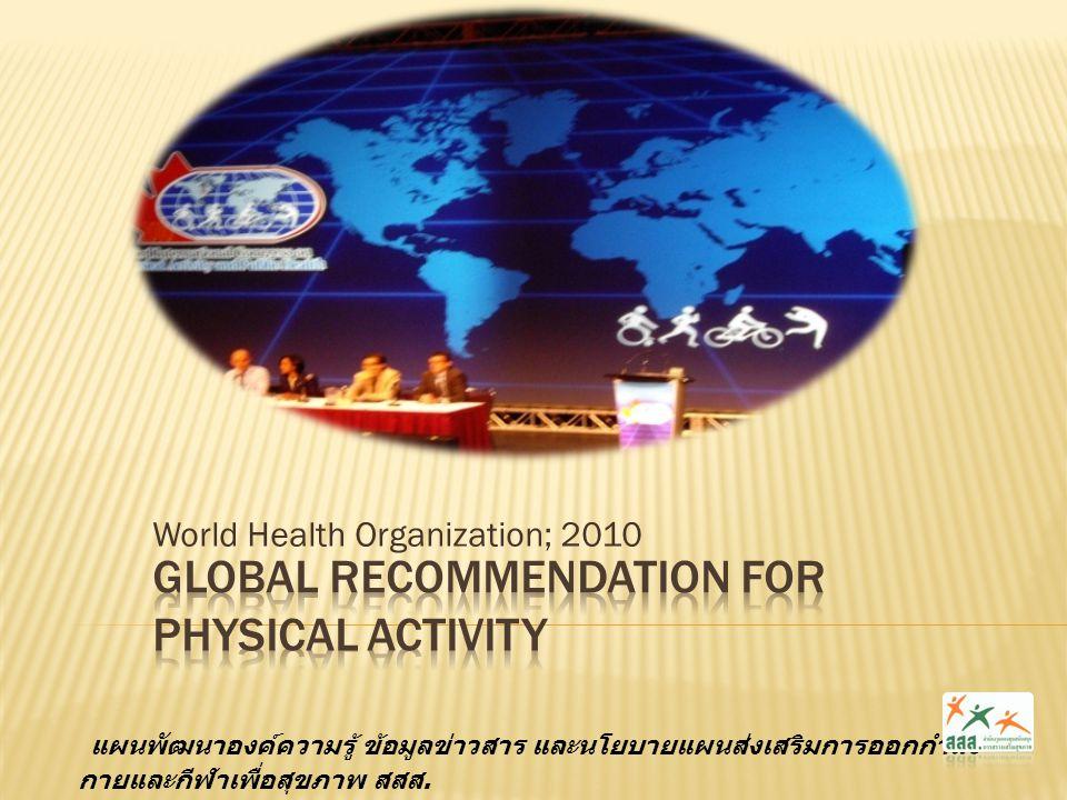 World Health Organization; 2010 แผนพัฒนาองค์ความรู้ ข้อมูลข่าวสาร และนโยบายแผนส่งเสริมการออกกำลัง กายและกีฬาเพื่อสุขภาพ สสส.