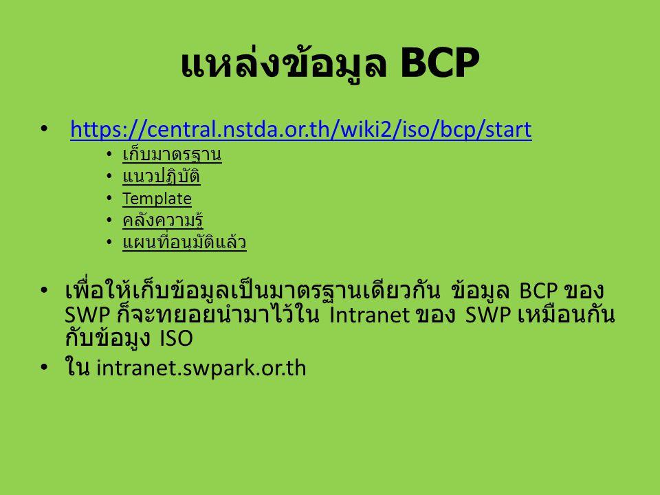 แหล่งข้อมูล BCP https://central.nstda.or.th/wiki2/iso/bcp/start เก็บมาตรฐาน แนวปฏิบัติ Template คลังความรู้ แผนที่อนุมัติแล้ว เพื่อให้เก็บข้อมูลเป็นมา