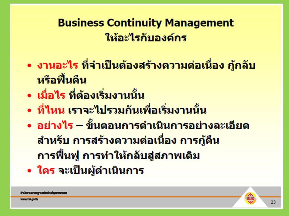Business Continuity Management Awareness ทำแบบสำรวจ กระบวนการหลักของ หน่วยงาน (Critical Process/Services) ร่วมกับหน่วยงาน การวิเคราะห์ ผลกระทบต่อธุรกิจ (Business Impact Analysis : BIA) ร่วมกับหน่วยงาน ประชุมเพื่อเขียนแผน และเขียนแผน