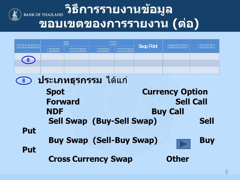 9 วิธีการรายงานข้อมูล ขอบเขตของการรายงาน ( ต่อ ) 9 สกุลเงิน จำนวนเงิน สกุลเงินซื้อ : สกุลเงินที่ธนาคารซื้อเงินตรา ต่างประเทศจากลูกค้า จำนวนเงินซื้อ : จำนวนเงินตราต่างประเทศตามสกุล เงินซื้อ สกุลเงินขาย : สกุลเงินที่ธนาคารขายเงินตรา ต่างประเทศให้กับลูกค้า จำนวนเงินขาย : จำนวนเงินตราต่างประเทศตามสกุล เงินขาย 9