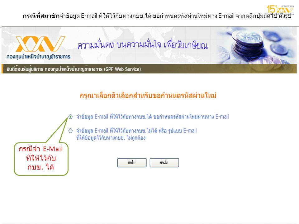6 กรกฎาคม 2557 6 กรกฎาคม 2557 6 กรกฎาคม 2557 4 กรณีที่สมาชิกจำข้อมูล E-mail ที่ให้ไว้กับทางกบข. ได้ ขอกำหนดรหัสผ่านใหม่ทาง E-mail จากคลิกปุ่มถัดไป ดัง