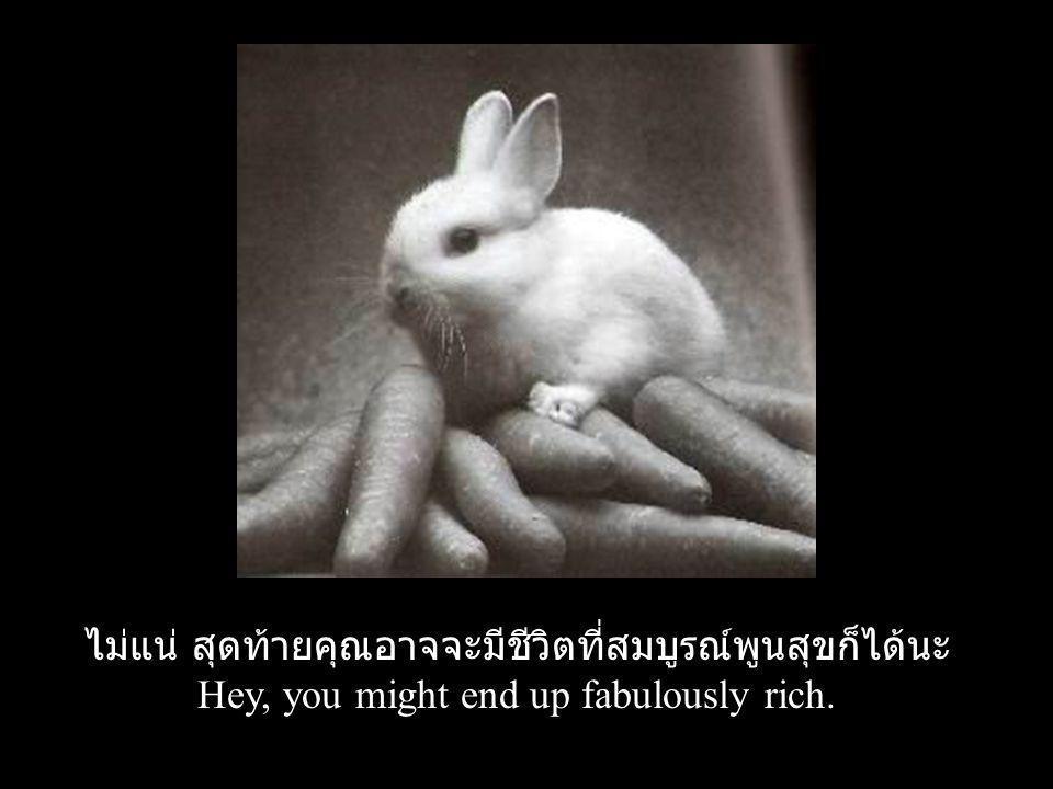 ไม่แน่ สุดท้ายคุณอาจจะมีชีวิตที่สมบูรณ์พูนสุขก็ได้นะ Hey, you might end up fabulously rich.