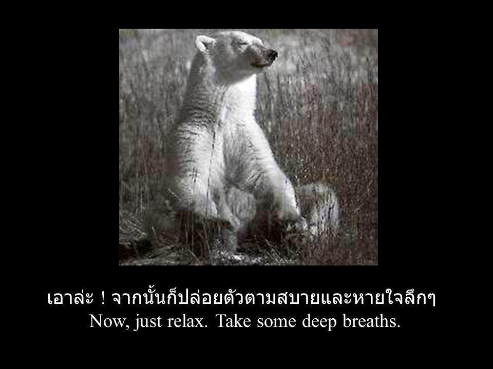 เอาล่ะ ! จากนั้นก็ปล่อยตัวตามสบายและหายใจลึกๆ Now, just relax. Take some deep breaths.