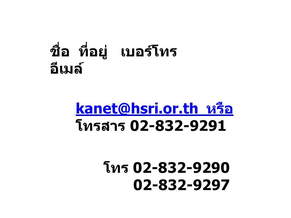 ชื่อ ที่อยู่ เบอร์โทร อีเมล์ kanet@hsri.or.th หรือ โทรสาร 02-832-9291 โทร 02-832-9290 02-832-9297