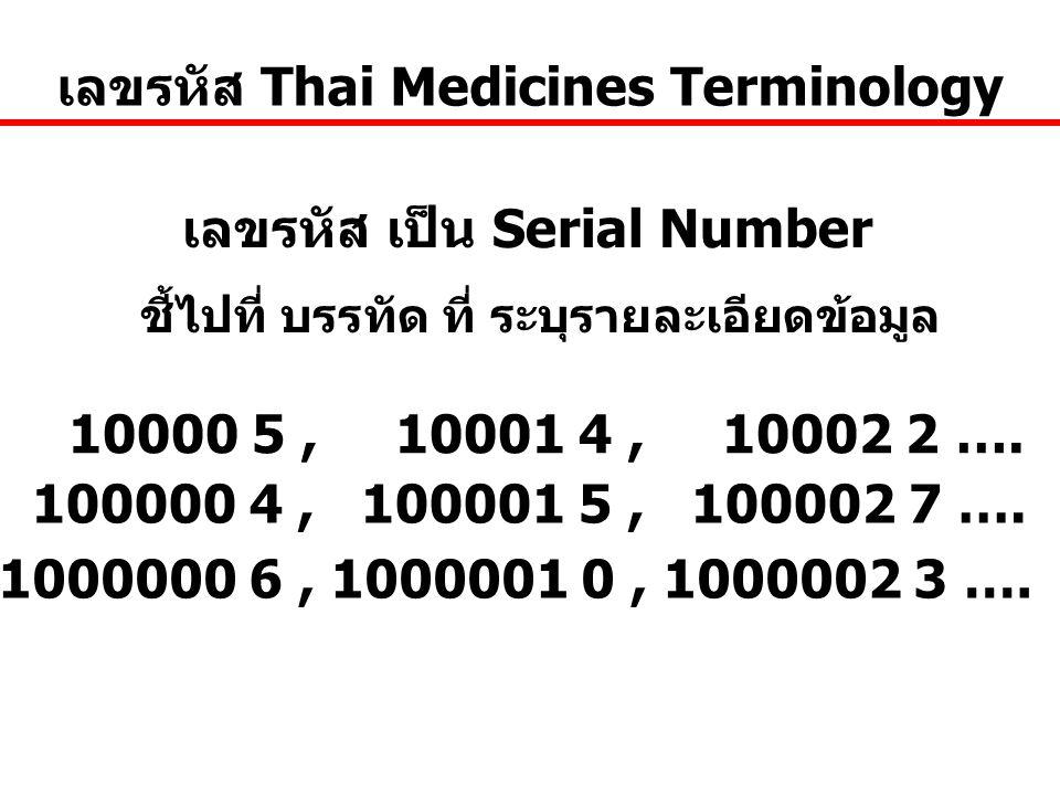 10000 5, 10001 4, 10002 2 …. เลขรหัส เป็น Serial Number เลขรหัส Thai Medicines Terminology ชี้ไปที่ บรรทัด ที่ ระบุรายละเอียดข้อมูล 100000 4, 100001 5