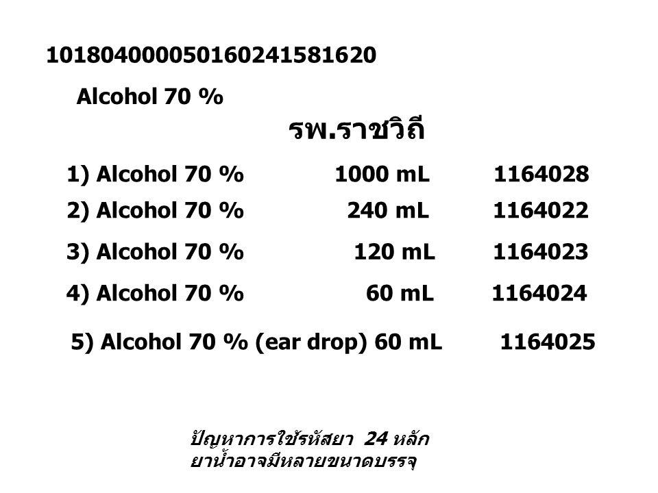 101804000050160241581620 Alcohol 70 % 1) Alcohol 70 % 1000 mL 1164028 2) Alcohol 70 % 240 mL 1164022 3) Alcohol 70 % 120 mL 1164023 4) Alcohol 70 % 60