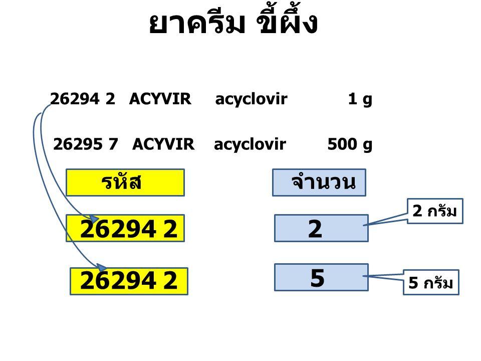 26294 2 ACYVIR acyclovir 1 g 26295 7 ACYVIR acyclovir 500 g 26294 2 2 5 จำนวนรหัส ยาครีม ขี้ผึ้ง 2 กรัม 5 กรัม
