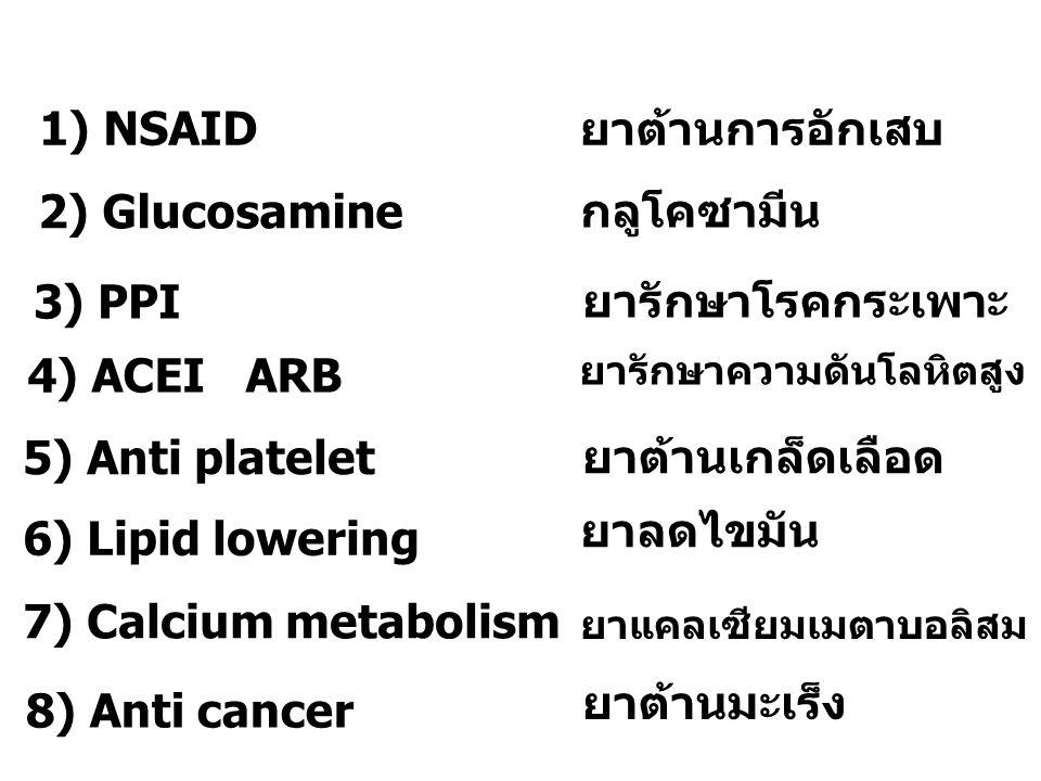 1) NSAID 2) Glucosamine 3) PPI 4) ACEI ARB 6) Lipid lowering 5) Anti platelet 7) Calcium metabolism 8) Anti cancer ยาต้านการอักเสบ กลูโคซามีน ยารักษาโ