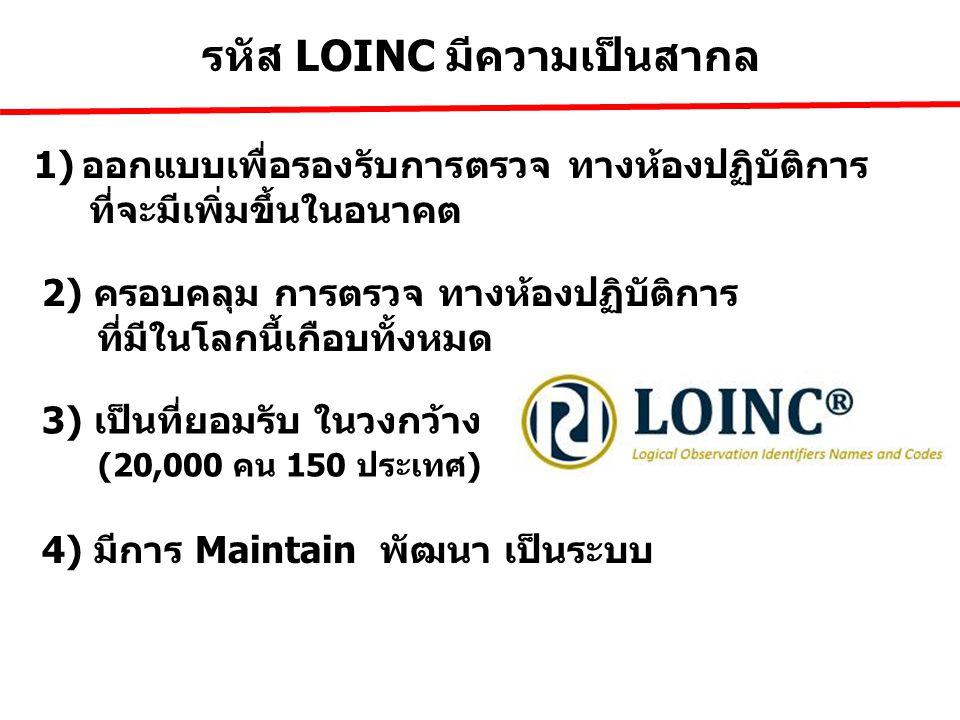 รหัส LOINC มีความเป็นสากล 1)ออกแบบเพื่อรองรับการตรวจ ทางห้องปฏิบัติการ ที่จะมีเพิ่มขึ้นในอนาคต 3) เป็นที่ยอมรับ ในวงกว้าง 4) มีการ Maintain พัฒนา เป็น