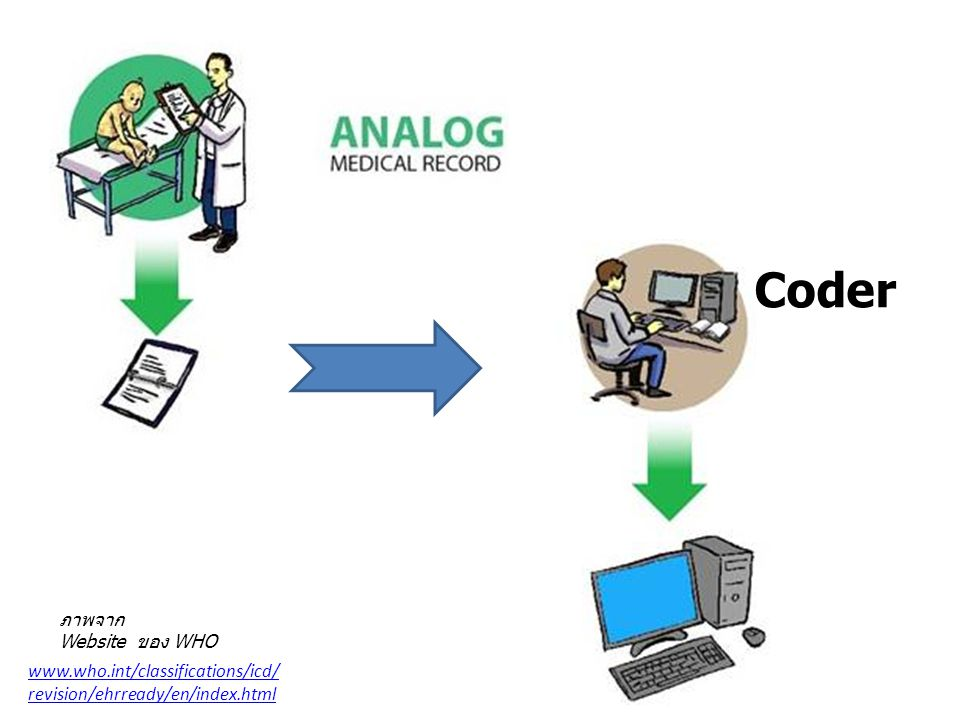 Coder ภาพจาก Website ของ WHO www.who.int/classifications/icd/ revision/ehrready/en/index.html