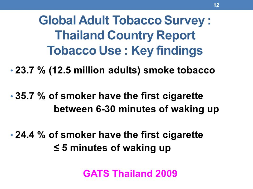 12 Global Adult Tobacco Survey : Thailand Country Report Tobacco Use : Key findings 23.7 % (12.5 million adults) smoke tobacco 35.7 % of smoker have the first cigarette between 6-30 minutes of waking up 24.4 % of smoker have the first cigarette ≤ 5 minutes of waking up GATS Thailand 2009