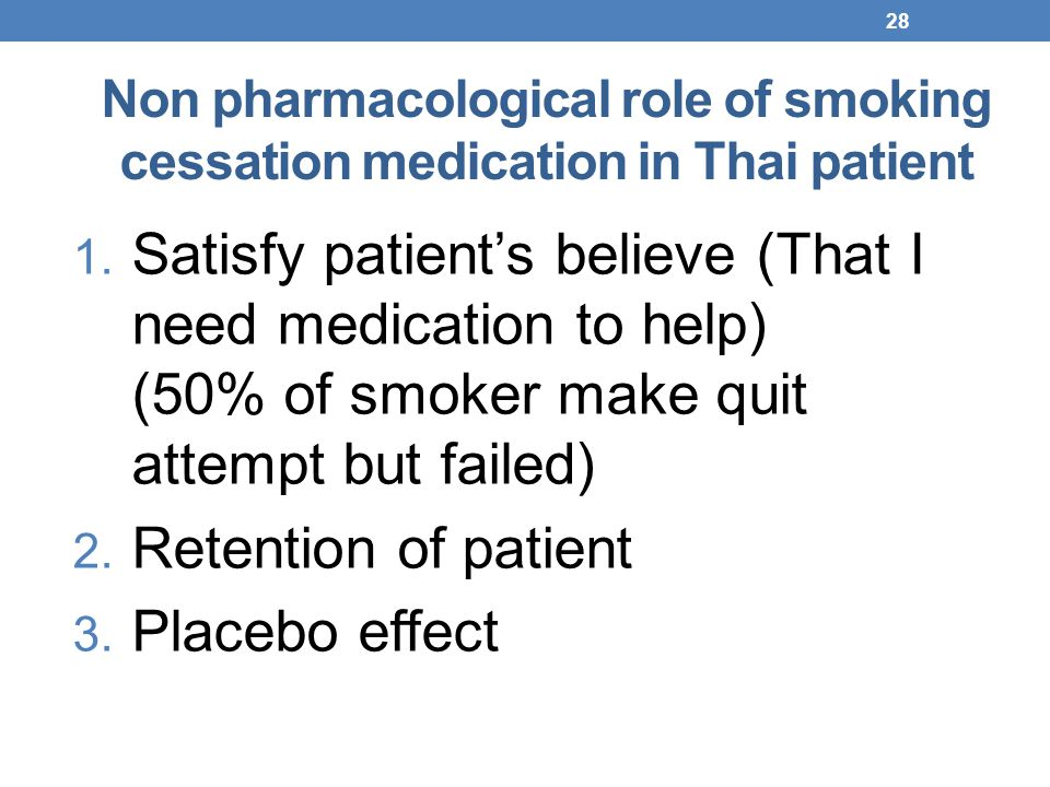 Non pharmacological role of smoking cessation medication in Thai patient 1. Satisfy patient's believe (That I need medication to help) (50% of smoker