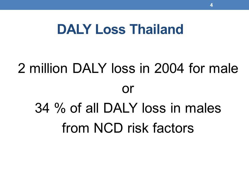 DALY Loss Thailand 2 million DALY loss in 2004 for male or 34 % of all DALY loss in males from NCD risk factors 4