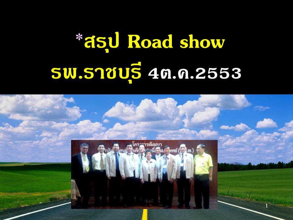 1 * สรุป Road show รพ.ราชบุรี 4ต.ค.2553