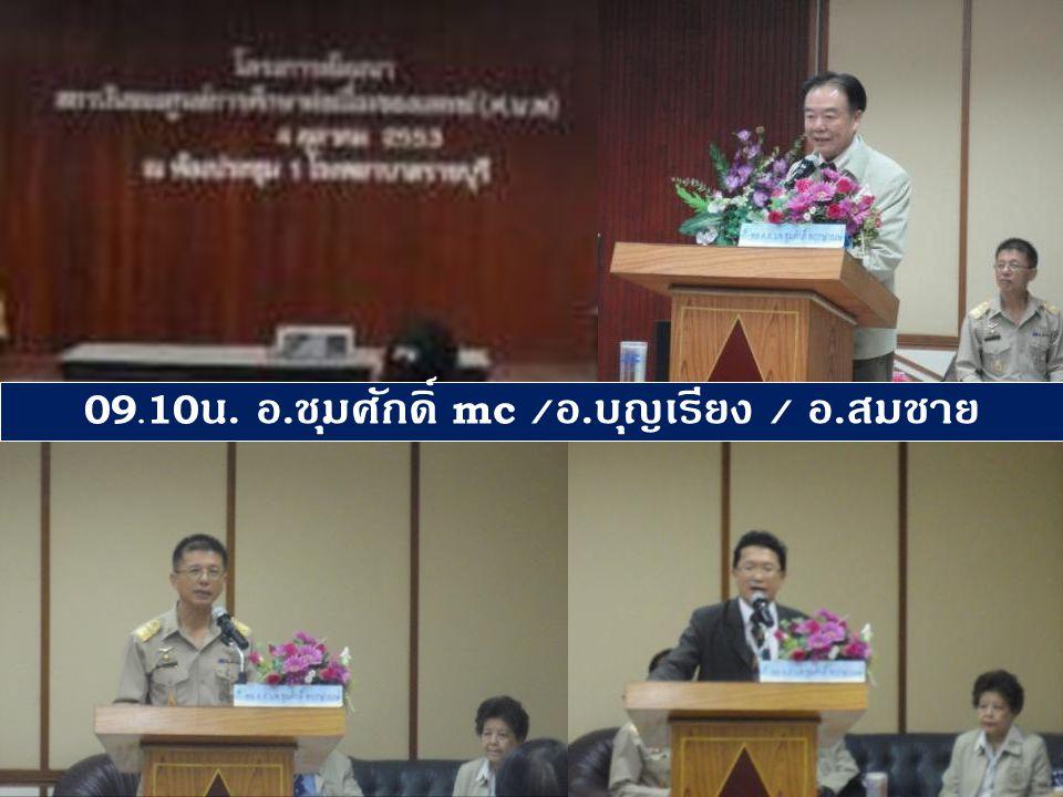 09.10 น. อ. ชุมศักดิ์ mc / อ. บุญเรียง / อ. สมชาย