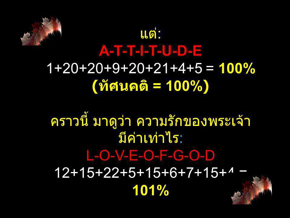 H-A-R-D-W-O-R- K 8+1+18+4+23+15+18+11 = 98% ( งานหนัก = 98%) K-N-O-W-L-E-D-G-E 11+14+15+23+12+5+4+7+5 = 96% ( ความรู้ = 96%)