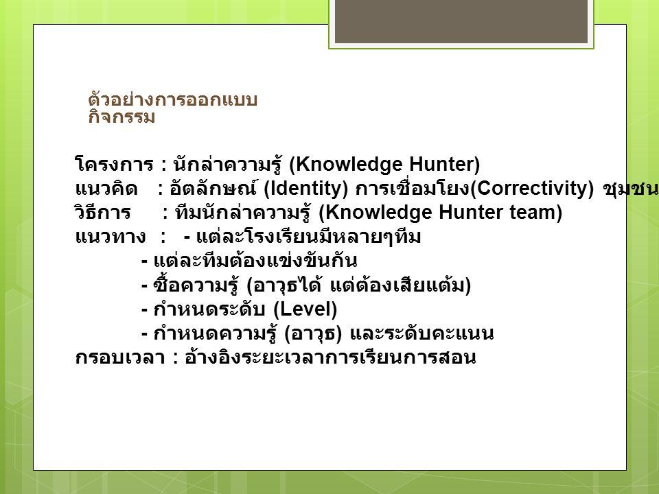 ตัวอย่างการออกแบบ กิจกรรม โครงการ : นักล่าความรู้ (Knowledge Hunter) แนวคิด : อัตลักษณ์ (Identity) การเชื่อมโยง (Correctivity) ชุมชน (Community) วิธีก