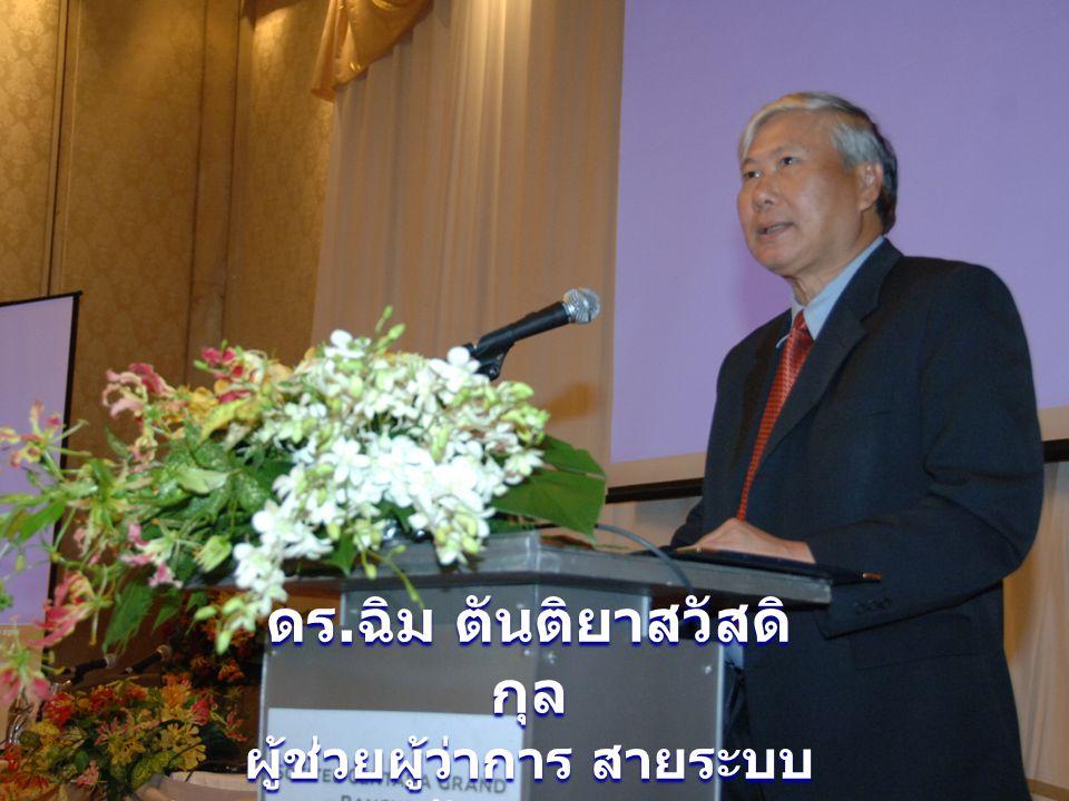ดร. ฉิม ตันติยาสวัสดิ กุล ผู้ช่วยผู้ว่าการ สายระบบ ข้อสนเทศ ประธานกล่าวเปิดงาน