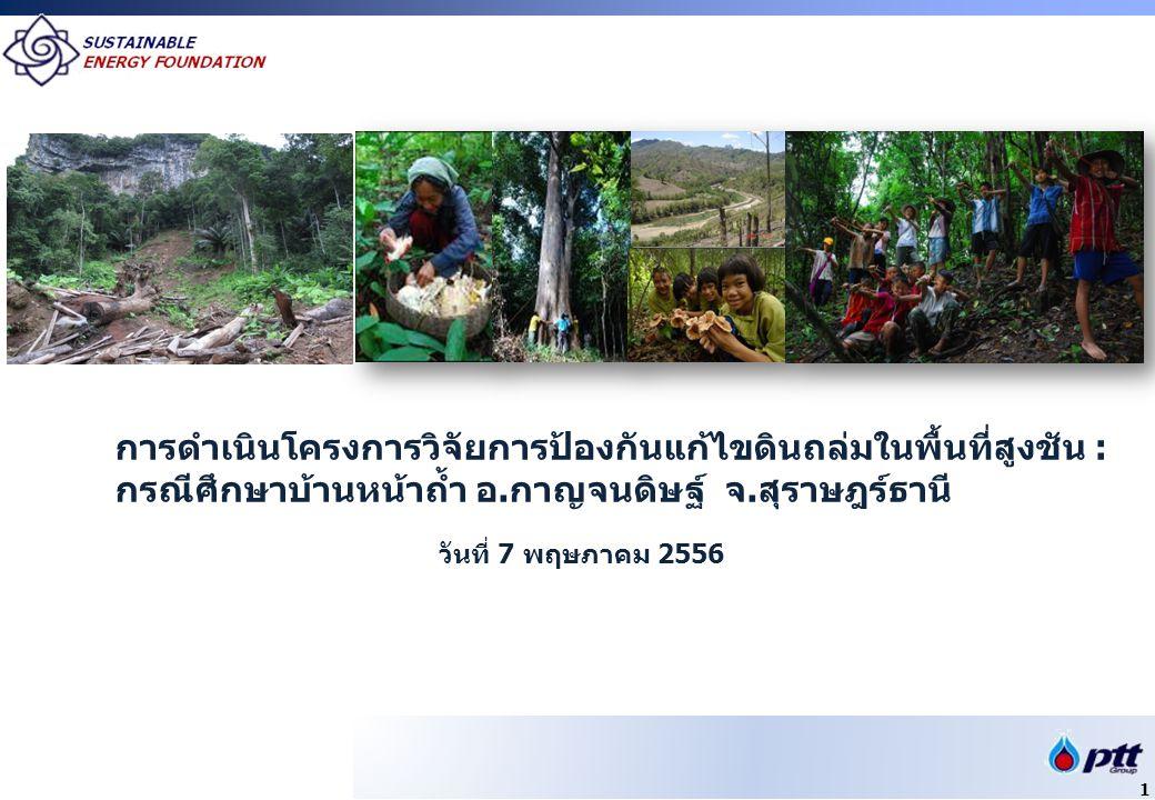 วันที่ 7 พฤษภาคม 2556 การดำเนินโครงการวิจัยการป้องกันแก้ไขดินถล่มในพื้นที่สูงชัน : กรณีศึกษาบ้านหน้าถ้ำ อ.กาญจนดิษฐ์ จ.สุราษฎร์ธานี 1