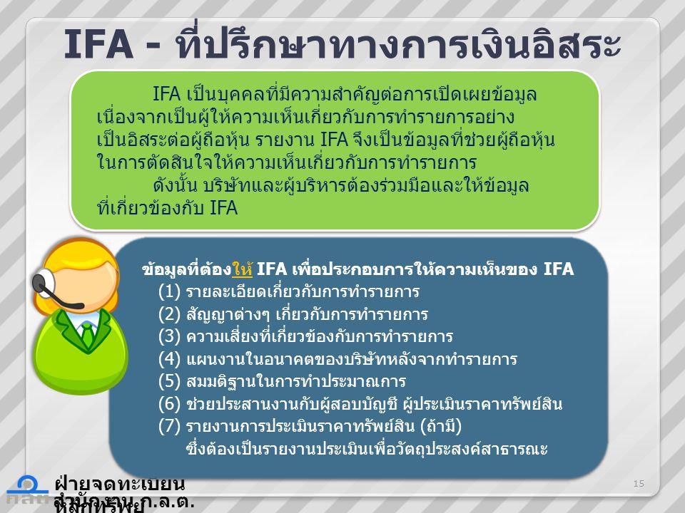 สำนักงาน ก. ล. ต. ฝ่ายจดทะเบียน หลักทรัพย์ IFA - ที่ปรึกษาทางการเงินอิสระ ข้อมูลที่ต้องให้ IFA เพื่อประกอบการให้ความเห็นของ IFA (1) รายละเอียดเกี่ยวกั