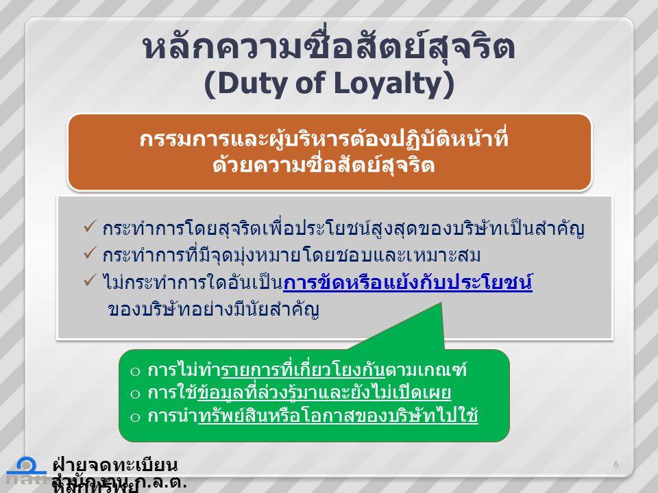 สำนักงาน ก. ล. ต. ฝ่ายจดทะเบียน หลักทรัพย์ หลักความซื่อสัตย์สุจริต (Duty of Loyalty) กระทำการโดยสุจริตเพื่อประโยชน์สูงสุดของบริษัทเป็นสำคัญ กระทำการที