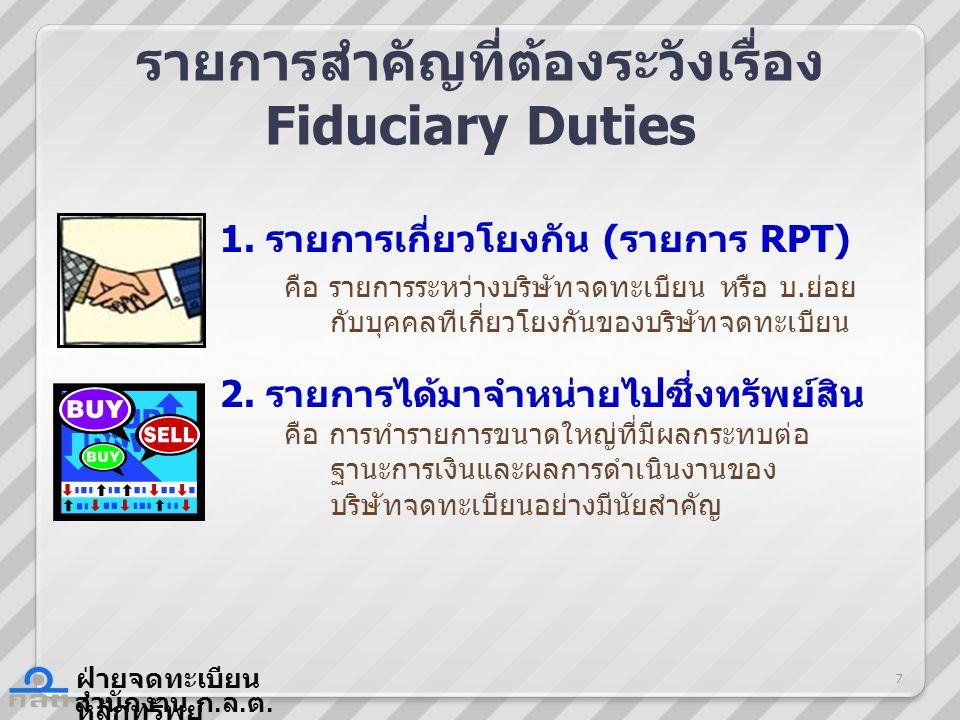 สำนักงาน ก.ล. ต. ฝ่ายจดทะเบียน หลักทรัพย์ รายการสำคัญที่ต้องระวังเรื่อง Fiduciary Duties 1.