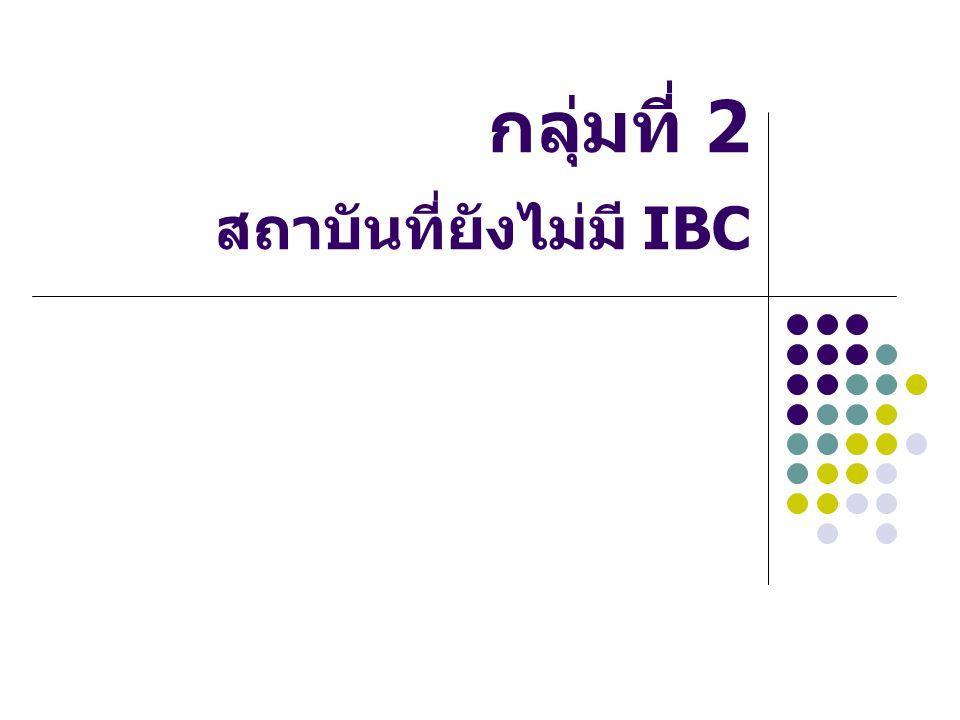 กลุ่มที่ 2 สถาบันที่ยังไม่มี IBC