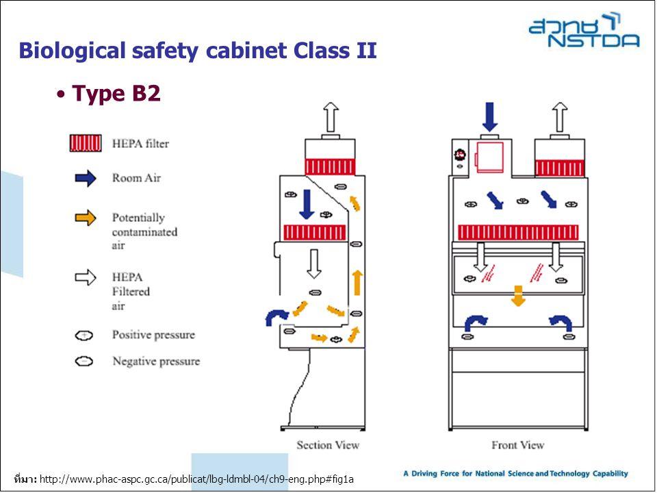 Biological safety cabinet Class II Type B2 ที่มา: http://www.phac-aspc.gc.ca/publicat/lbg-ldmbl-04/ch9-eng.php#fig1a