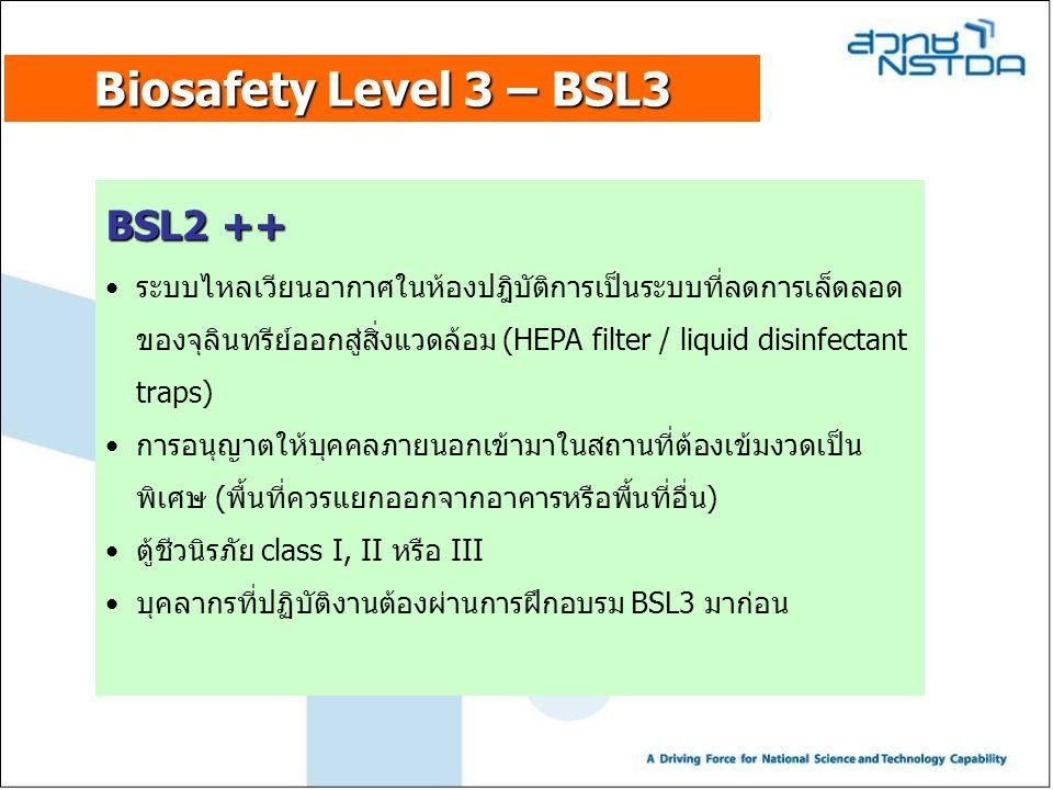 Biosafety Level 3 – BSL3 BSL2 ++ ระบบไหลเวียนอากาศในห้องปฎิบัติการเป็นระบบที่ลดการเล็ดลอด ของจุลินทรีย์ออกสู่สิ่งแวดล้อม (HEPA filter / liquid disinfe