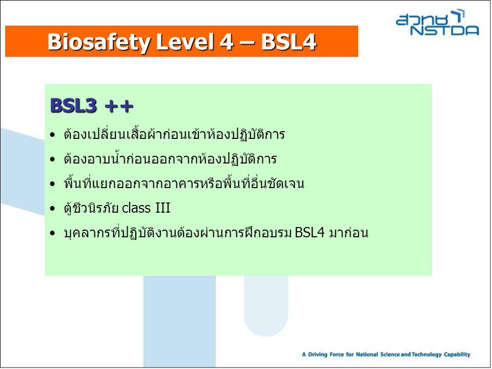 Biosafety Level 4 – BSL4 BSL3 ++ ต้องเปลี่ยนเสื้อผ้าก่อนเข้าห้องปฏิบัติการ ต้องอาบน้ำก่อนออกจากห้องปฏิบัติการ พื้นที่แยกออกจากอาคารหรือพื้นที่อื่นชัดเ