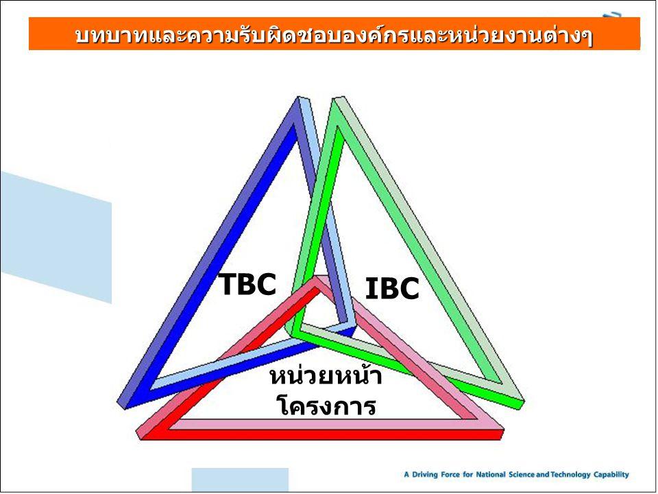 บทบาทและความรับผิดชอบองค์กรและหน่วยงานต่างๆ TBC IBC หน่วยหน้า โครงการ