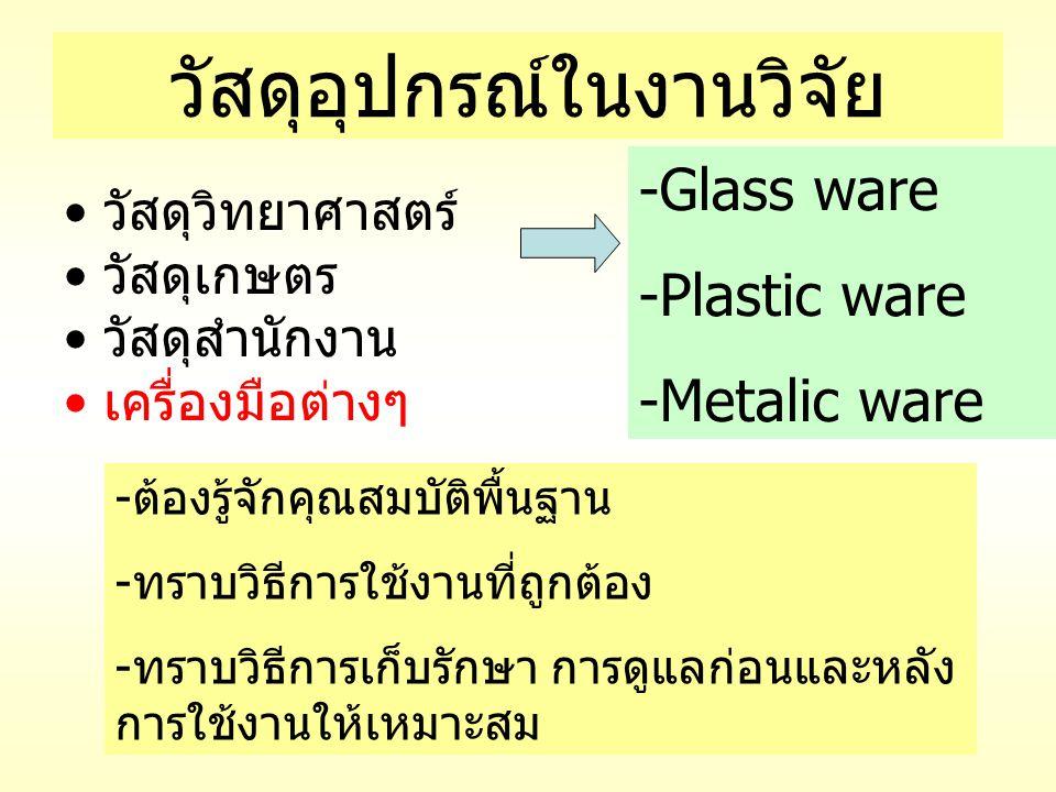 วัสดุอุปกรณ์ในงานวิจัย วัสดุวิทยาศาสตร์ วัสดุเกษตร วัสดุสำนักงาน เครื่องมือต่างๆ -Glass ware -Plastic ware -Metalic ware -ต้องรู้จักคุณสมบัติพื้นฐาน -