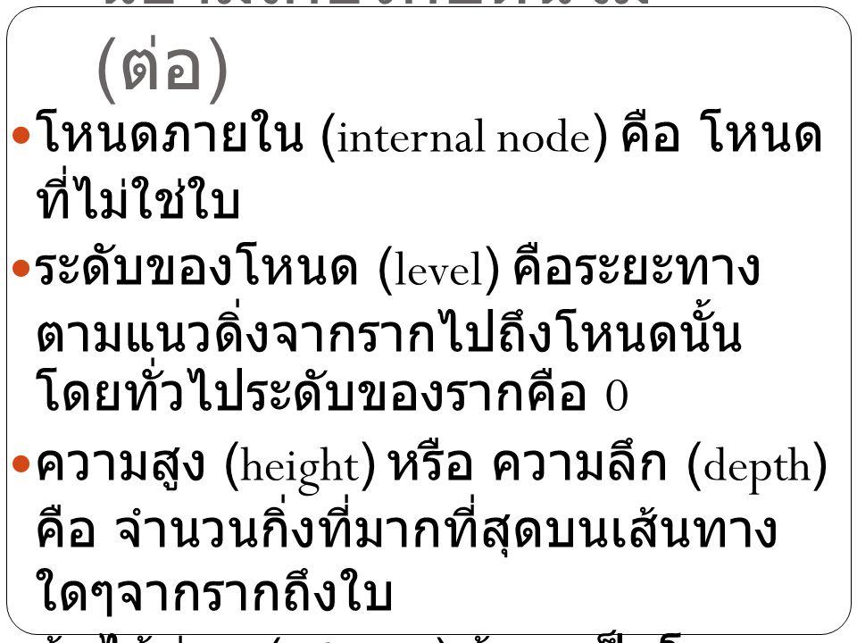 นิยามเกี่ยวกับต้นไม้ ( ต่อ ) โหนดภายใน (internal node) คือ โหนด ที่ไม่ใช่ใบ ระดับของโหนด (level) คือระยะทาง ตามแนวดิ่งจากรากไปถึงโหนดนั้น โดยทั่วไประด
